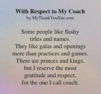 With Respect to My Coach