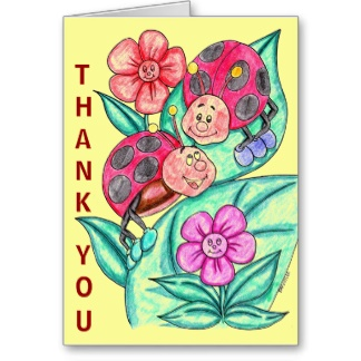 Adorable Lady Bug Thank You Card