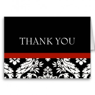 Black and White Damask Elegant Thank You Notes Greeting Cards