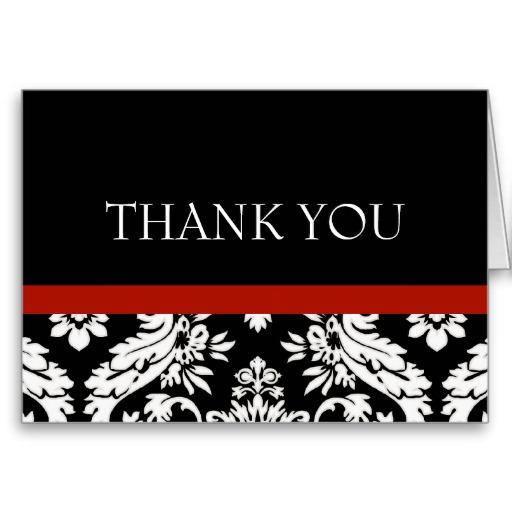 Black and White Damask Elegant Thank You Notes Greeting Cards