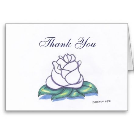 Blank Flower Thank You Card