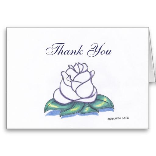 Blank Flower Thank You Card