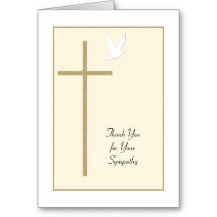 Funeral Sympathy Thank You Card -- Cross & Dove