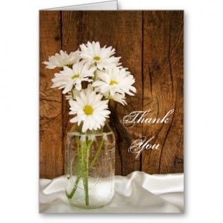 Mason Jar and White Daisies Country Thank You Greeting Card