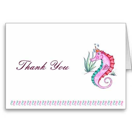 Seahorse Thank You Card in Art Deco Colors