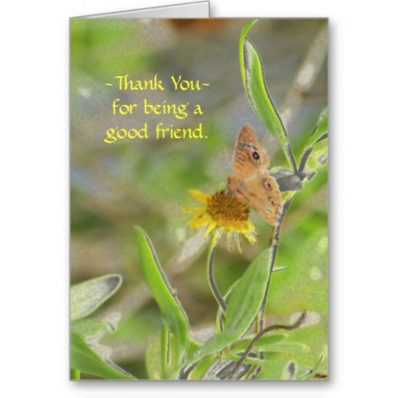 Thank you friend, butterfly on yellow Daisy blank Pretty butterfly on a yellow Daisy featured on this greeting card