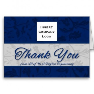Business Logo Custom Thank You Blue Damask Greeting Cards