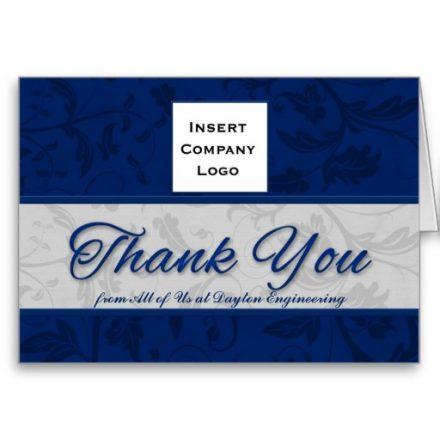 Business Logo Custom Thank You Blue Damask Greeting Cards
