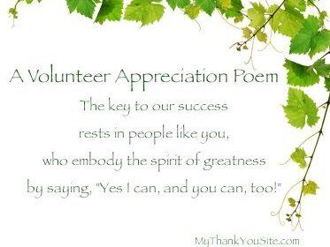Thank You Volunteers Poems
